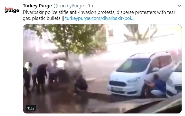 Diyarbakır police stifle anti-invasion protests, disperse protesters with tear gas, plastic bullets