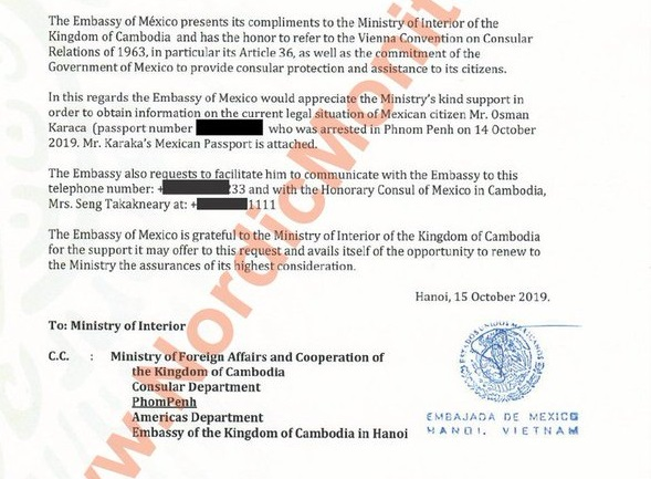 Turkish Embassy in Phnom Penh files fraudulent request to extradite Mexican citizen of Turkish origin on coup charges: report by @nordicmonitor ||