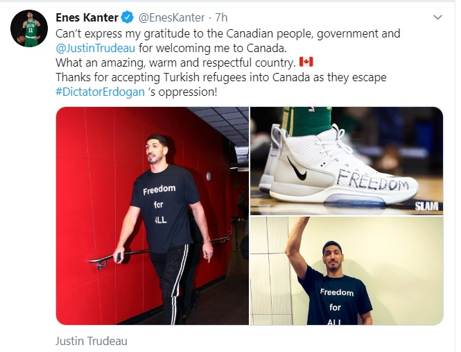 "Boston Celtics center Kanter thanks Trudeau for ""letting him play basketball in Canada"""