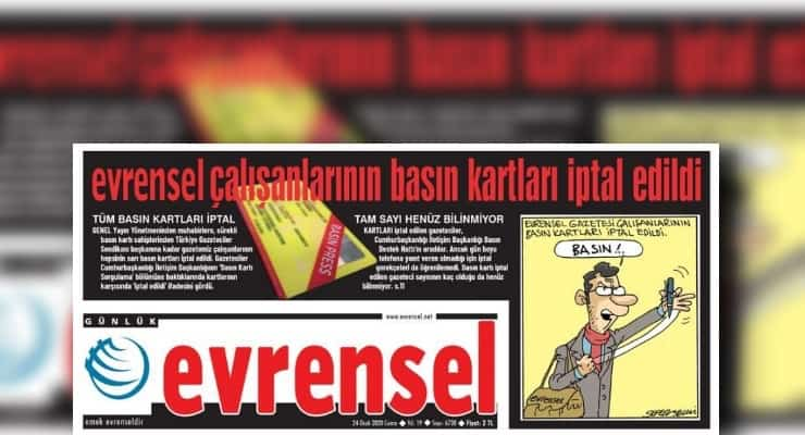 Turkish gov't revokes press cards of Evrensel daily journalists: report