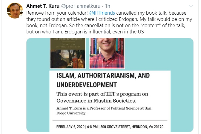 IIIT cancels book talk due to author's article in critical of Turkish President Erdogan