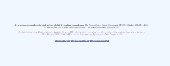 Turkey blocks access to Oda TV news website