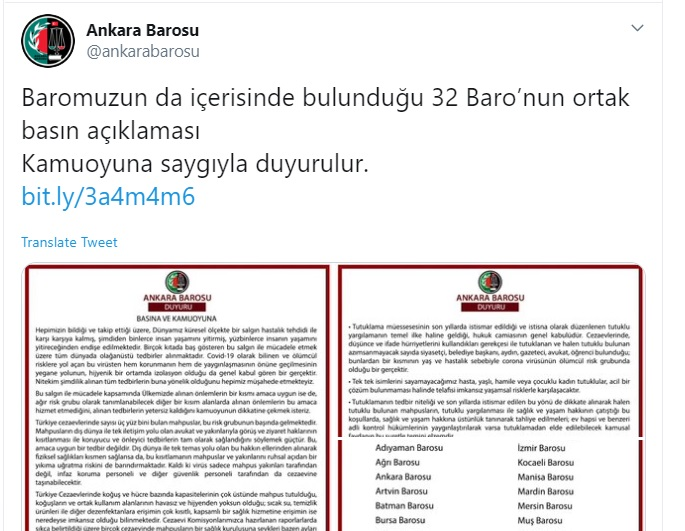 32 bar associations call on Turkish authorities to release prisoners due to coronavirus outbreak