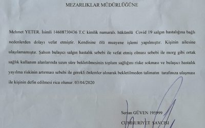 Turkish authorities report first inmate death from coronavirus
