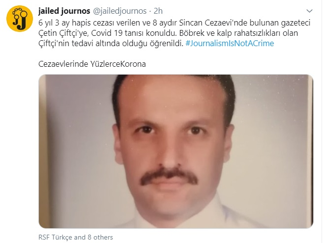 Turkish journalist tests positive for COVID-19 in Ankara's Sincan prison
