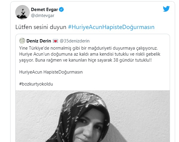 Turkish actress calls on authorities to release purge-victim pregnant woman from prison
