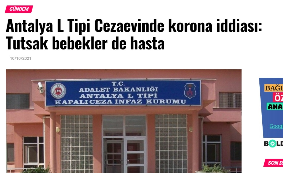 COVID-19 outbreak reported at Antalya prisons